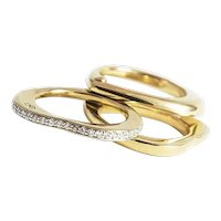 English 18K Yellow Gold and Diamond Multi Tiered Ring