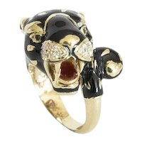 Enameled Panther Ring set in 14kt. with Diamonds and Emerald.