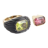 Custom Made 18 kt. Yellow Gold, Tourmaline, Peridot and Onyx interchangeable Solitaire Ring.