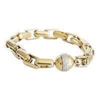 "Italian "" Baraka"" 18kt Yellow Gold and Diamond Bracelet. -  8 inches."