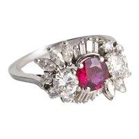Custom Made Platinum, Ruby and Diamond Ring.