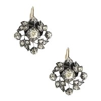 Antique Diamond Silver and Gold Earrings circa 1870.