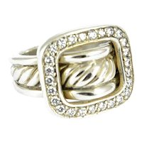 David Yurman Silver and Diamond Buckle Ring