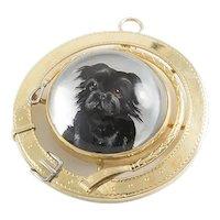 Vintage Essex Crystal Reverse Painted Black Dog 14K Brooch Pendant