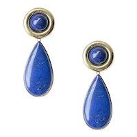 Dramatic 18 kt. Yellow Gold and Lapis Lazuli Ear Pendants