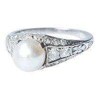 Art Deco Platinum Diamond and Pearl Ring.