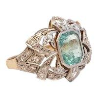 Exceptional Art Deco Emerald Diamond and Platinum Ring