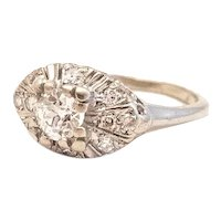 Art Deco Old European Cut Diamond Ring.