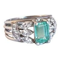 Custom Made Emerald Diamond and Platinum Ring.