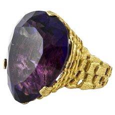 Dramatic Secrett 18K Yellow Gold & Amethyst Ring
