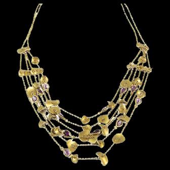 Delicate 18K Gold Garnet Necklace