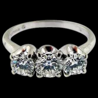 KENTS Platinum and Diamond 3-Stone Designer Ring