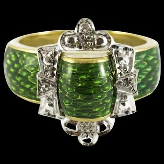 Vintage 18K Enamel Buckle Ring