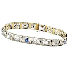 Art Deco Filigree White Gold Diamond and Sapphire Bracelet