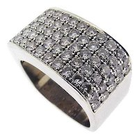 Vintage Modern Custom Made Platinum and Diamond Ring