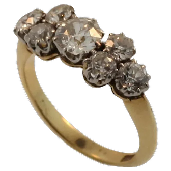 VIntage 18 KT White and Yellow Gold Custom Ring