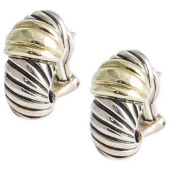 Vintage David Yurman Gold and silver cable earrings.