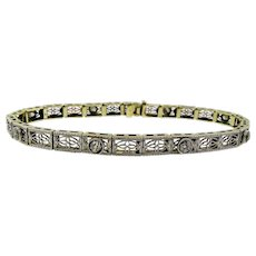 Art Deco Diamond and Filigree Bracelet