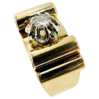 French Retro Diamond and Gold Ring