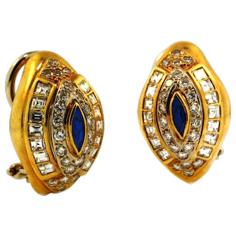Vintage European High Quality Diamond and Sapphire Earrings
