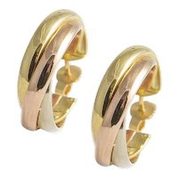 18kt Tricolour Gold Hoop Earrings.