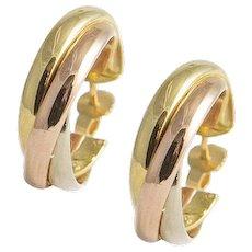 18kt Tricolour Gold Hoop Earrings.