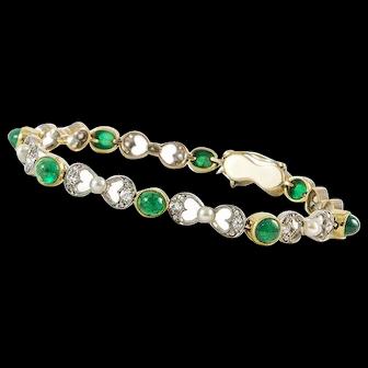French Art Nouveau Diamond Pearl and Emerald Bracelet