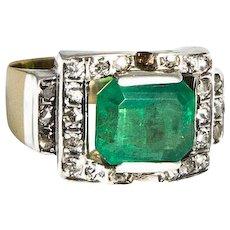Art Deco Silver Gold & Emerald Ring.