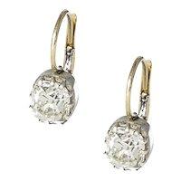 Antique 2.26CT Old Mine Cut Diamond Earrings