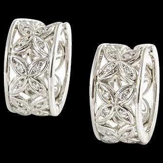 Vintage Birks 18K White Gold and Diamond Huggies