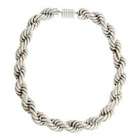 Large Sterling Silver Rope Chain Necklace.