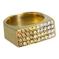 Modern Colored Diamond Ring.