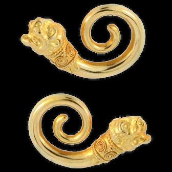 Ilias Lalaounis Lion's Head Spiral Gold Earrings