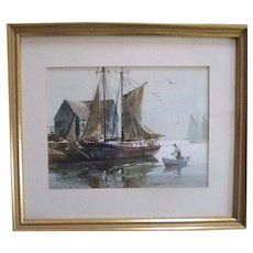 """Marshall Joyce (1912-1998)"""" LOW TIDE ROCKPORT"""" watercolor listed artist"""