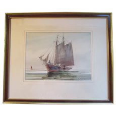 """Marshall Joyce (1912-1998) """"OUTBOUND"""" watercolor listed artist"""