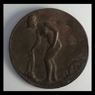 """Everett L. Bryant 1864 - 1945 """"Maiden Bathing"""" Bronze Art Nouveau"""