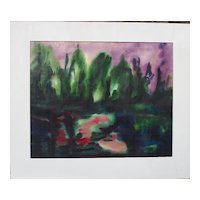 "Martin Kainz 1899-1982 ""Purple Sunset"" German Expressionist w/c"