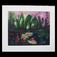 """Martin Kainz 1899-1982 """"Purple Sunset"""" German Expressionist w/c"""