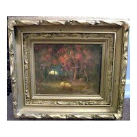 "Henry Hammond Ahl 1869-1953 ""Lingering Light"" oil painting"