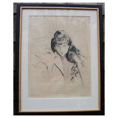 "Paul Helleu 1859-1927 ""Jeune Fille"" drypoint etching"
