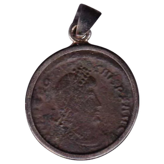 Sterling Silver Ancient Coin Jewelry Pendant Roman Emperor Theodosius I 379-395 AD Authentic