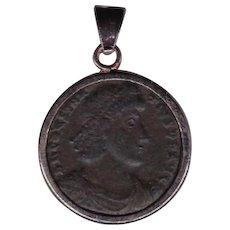 Sterling Silver Ancient Coin Jewelry Pendant Roman Emperor Constantius II, 337-361 AD Authentic