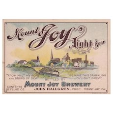 Mount Joy Light Beer LABEL PRE-PROHIBITION Mount Joy Brewery PA John Hallgren