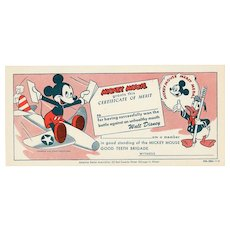 Mickey Mouse Good Teeth Brigade Certificate 1950's vintage Disney