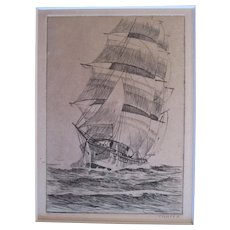 Albert R Thayer (1878-1965) Southbound Clipper Ship etching