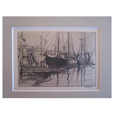Albert R Thayer (1878-1965) Gloucester Docks etching pencil signed