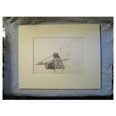 Harry A Vincent ANA (1864-1931) CHIOGGA TILLER original drawing listed Rockport MA