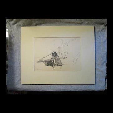 Harry A Vincent ANA (1864-1931) CHIOGGA TILLER original drawing listed Rockport MA