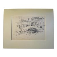 Harry A Vincent (1864-1931) CHIOGGA original drawing listed Rockport artist