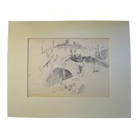 Harry A Vincent (1864-1931) DRYING THE NETS original drawing listed Rockport artist